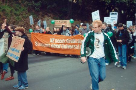 2005 VUWSA President Jeremy Greenbrook leads protest march to parliament, May 2005