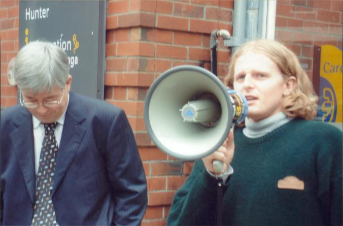 Me speaking as VUWSA President at the protest against International Student Fees. Next to me Vice Chancellor Pat Walsh
