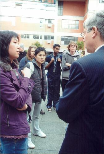VUWSA International Officer Fiona Shi challenging Vice Chancellor Pat Walsh on International Student Fee increases.