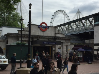 Embankment Station - with the London Eye behind (new since the 1980s)