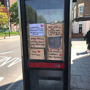 Posted on an old telephone box in Deptford