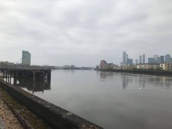 View of the Thames from Greenwich, looking westwards. 19 April 2020